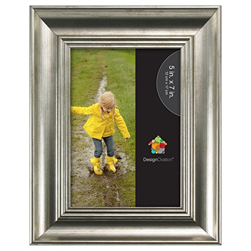 DesignOvation 209483 Macon Scoop Picture Frame, Silver, 5x7