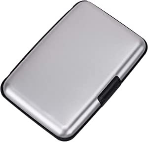 Elfish RFID Blocking Credit Card Protector Aluminum ID Case Hard Shell Business Card Holders Metal Wallet for Men or Women (silver)