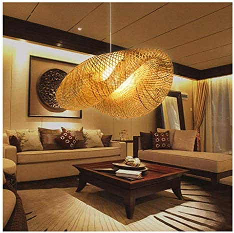 Bamboo Lantern Pendant Lamp, Retro Japanese Style E27 Chandelier Hanging Light Ceiling Lighting Fixture for Living Room Bedroom Restaurant Cafe Tea House Bar Dining Room Club 3 Head Light 30 inch