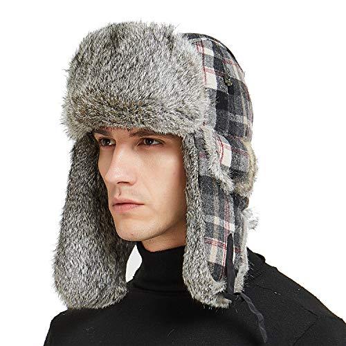 (IKEPOD Buffalo Plaid Aviator Russian Winter Hunting Rabbit Fur Trapper Hat Cap)