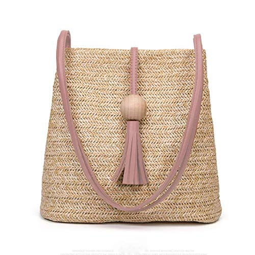 Pink Woven Bag - Women's Summer Straw Bucket Tote Bag Straw Woven Handbag Tassel Shoulder Bag (Pink handle)
