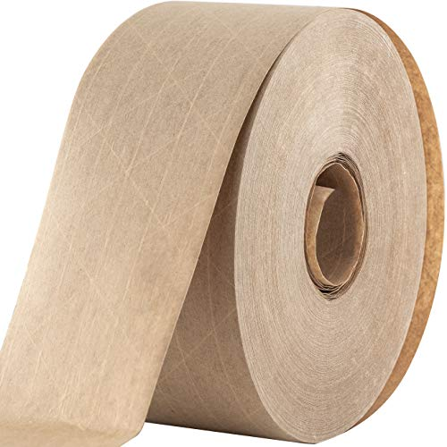 (Ultra Durable Water-Activated Tape for Secure Packing. 2.75 Inch, 450 Ft Brown Kraft Gum Tape Provides Heavy Duty Adhesive for Packaging and Shipping. Fiberglass Reinforced for Extra Strong Bond.)
