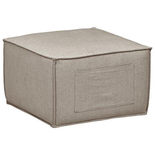 Rivet Adrian Side Storage Pocket Cube Ottoman Pouf, 24.5 W, Grey