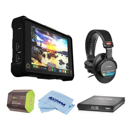 Atomos Shogun Inferno - 7in 4Kp60, HDp240, Monitor/Recorder - Bundle with G-Technology Atomos Master Caddy 4K 1TB SSD, Sony MDR-7506 Pro Folding Headphones, GX NP-F970 Battery Pack, Cleaning Cloth