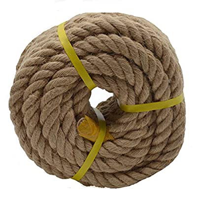 50 Feet x 1 Inch Natural Thick Jute Rope Twisted Manila Rope Hemp Rope for Craft Dock Decorative Landscaping Climbing, Tree Hanging Swing Tug War Rope