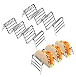 Taco Holder, Igoolee 3 Pack Stainless Steel Taco Stand Taco Rack Hold 3 or 4 Hard or Soft Taco Shells Taco Truck Tray Style Oven Safe for Baking