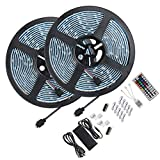 Led Strip Light Waterproof 600leds 32.8ft 10m Waterproof Flexible Color Changing RGB SMD 5050 600leds LED Strip Light Kit with 44 Keys IR Remote Controller and 12V 5A Power Supply