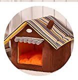 Egg Crate Foam Kohls Dog Bed Soft Dog House Removable Pet Bed House Breathable Waterproof Striped Soft Sofas,Coffee,L 50X45cm