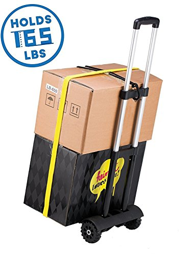 Folding Hand Truck, 75 Kg/165 lbs Heavy Duty Solid Construction Utility Cart Compact and Lightweight for Luggage, Personal, Travel, Auto, Moving and Office Use - Portable Fold Up Dolly(4 wheel-roate) by ROYI (Image #2)
