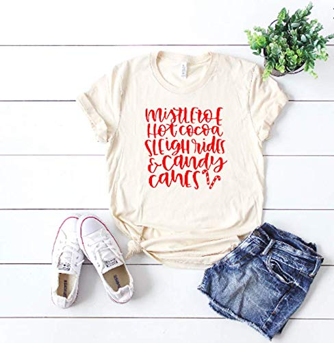 Mistletoe shirt Christmas Cheer Cute women's top Woman's Holiday top Christmas t-shirt Xmas shirt
