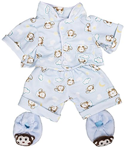 Blue Monkey Pajamas with Slippers Teddy Bear Clothes Outfit Fits Most 8