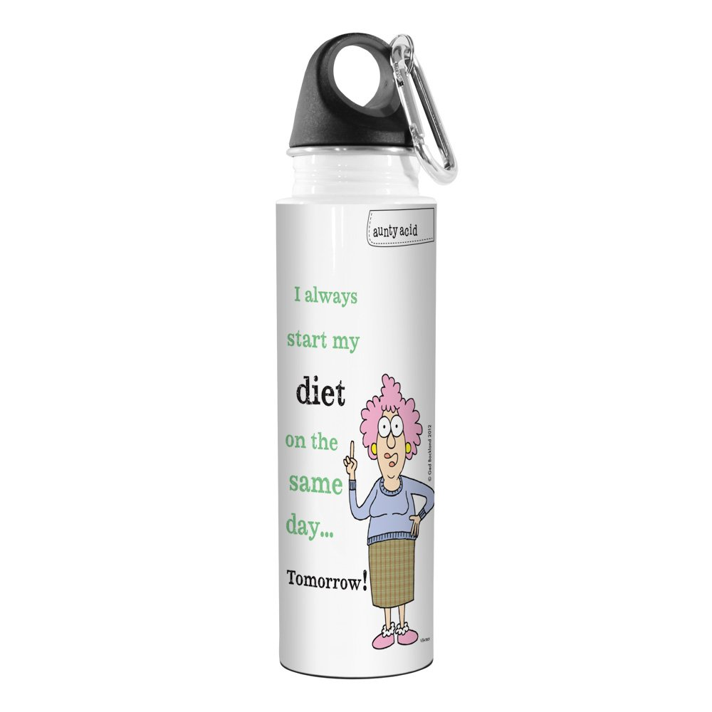 Starting Tomorrow 18-Ounce Tree-Free Greetings VB47801 Aunty Acid Artful Traveler Stainless Steel Water Bottle