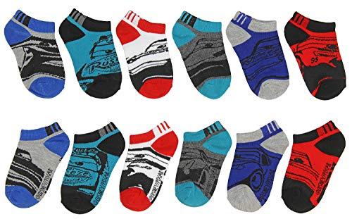 Disney Cars 3 Boys Toddler 6 pack No Show Socks (2-4 Boys (Shoe: 4-7), Blue/Red/Grey)