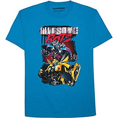 Transformers T shirt for Boys Awesome Bots (Large 10/12)