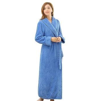 HGDR Damas De Mujer Invierno Cálido Bata De Baño Bata De Baño Largo Completo Cinturón con