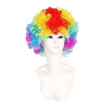 World Cup Wig Bandera Nacional,Peluca Fiesta De Explosión Suministros Peluca Payaso Ventiladores Halloween Composición