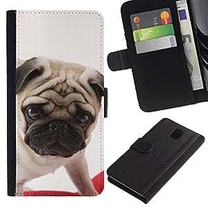 Pug British Puppy Dog Breed Canine - la tarjeta de Crédito Slots PU Funda de cuero Monedero caso cubierta de piel Samsung Galaxy Note 3 III