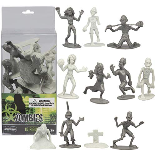 SCS Direct 10 Pcs Zombie Action Figures - Unique Figurines Mix of Zombies, Pets, Graves, and Humans for Halloween Parties
