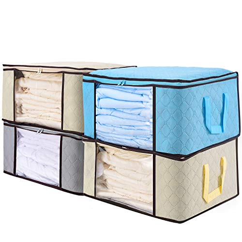 """senbowe Large Foldable Storage Bags, [4 Pack] Collapsible/Foldable Storage Bag Organizers, Large Clear Window, Handles, Zippers,for Clothes, Blankets, Closets, Bedrooms More - (21.7 x 15.7 x 9.8"""")"""