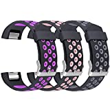 Fitbit Charge 2 Band, UMAXGET Silicone Sport Accessory Wristband with Ventilation Holes Small Large for Women Men Pack 3