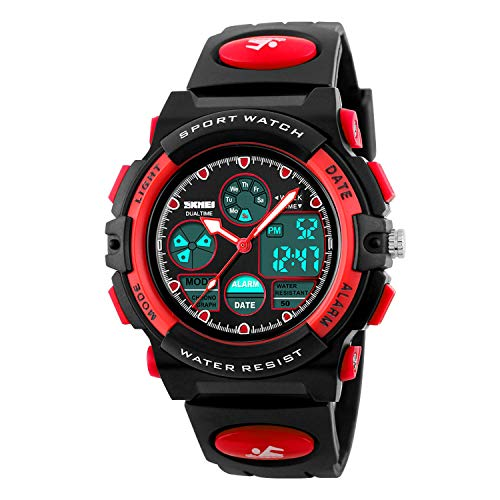 Kid's Digital Watch LED Outdoor Sports 50M Waterproof Watches Boys Girls Children's Analog Quartz Wristwatch with Alarm - Red