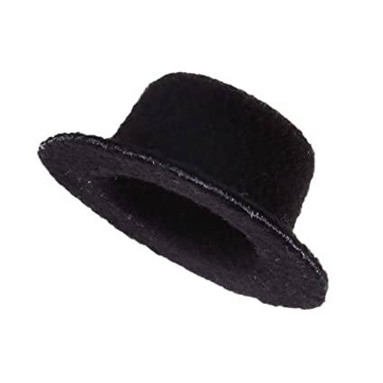Image Unavailable. Image not available for. Color  Fityle Dolls House 1 12  Mini Black Bowler Hat Wedding ... d2d7b843dc65