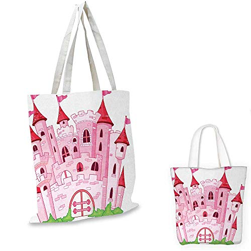 Fantasy shopping bag storage pouch Princess Castle Cute Fairy Tale Princess Magic Kingdom Cartoon Illustration Art small tote shopping bag Pink White. 13