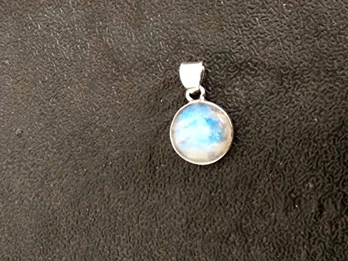 (Natural Moonstone Pendant, 925 Sterling Silver Pendant, Round Shape Pendant, Mermaids Gift, Promise Pendant, June Birthstone, Blue Flash Gemstone Jewelry, Healing Crystal, Dainty Pendant, Gift For Her)