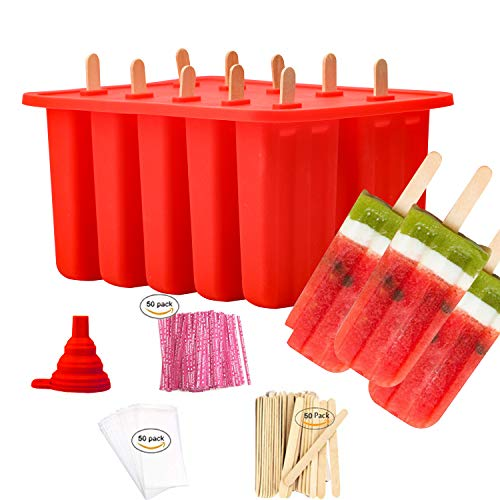 (Popsicle Molds Shapes, Food Grade Silicone Frozen Ice Cream Popsicle Maker BPA Free, with 50 Wooden Popsicle Sticks 50 Popsicle Bags Silicone Collapsible Funnel(10 Cavities))