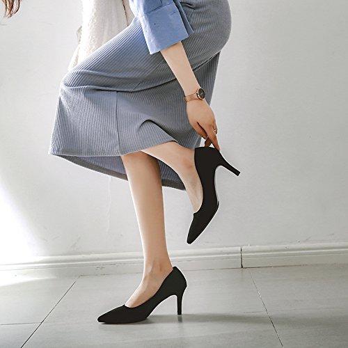 Xue Qiqi 5 cm High Heels Mädchen Spitze mit feinen feinen feinen schwarzen Satin elegante Interview Berufe mit wenig Licht der Schuh 7 cm 37 Schwarz 7 cm 356e99