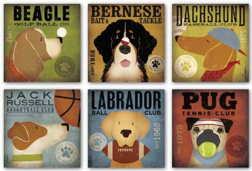 (Dog Club Set by Stephen Fowler, Beagle  Bernese Dachshund Jack Russell Labrador Pug  Six 12