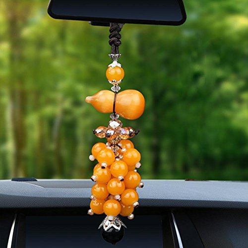 Alloet Car Interior Decoration Calabash Shape Opal Crystal Pendant(Yellow)