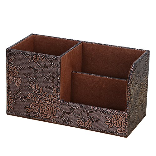KINGFOM Leatherette Desk Organizer Pen/Pencil/Remote Control/Cell Phones/Brushes Holder Office Container Storage Box (S-Retro Flower)