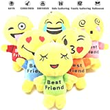Emoji Pillow Plush Cartoon Doll, 6 Set Kids Goodie Bag Stuffed Puppet, Cute Figure Toy Backpack Lanyard for Girl, Novelty Wished Gift Birthday Present School Prize, Baby Dollhouse Decor Supplies Favor
