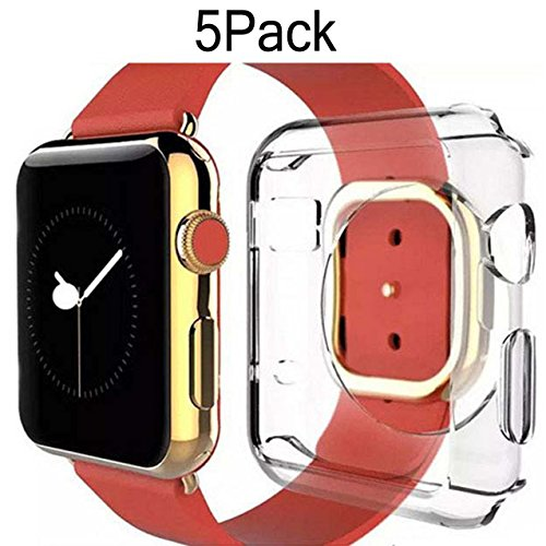 For Apple Watch Case 42mm CaseHQ Thinnest Most Lightweight Screen Protector Case Cover TPU Slim All-around Protective Cases Fit for Apple Watch / Watch Sport / Watch 2015(42mm) Crystal Clear (Crystal Dollar Faceplate)