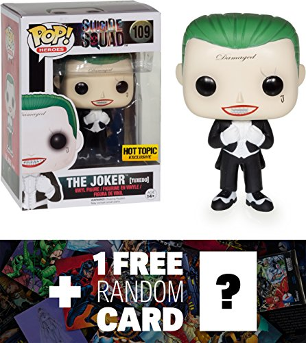 The Joker (Hot Topic Exclusive): Funko POP! x Suicide Squad Figure + 1 FREE Official DC Trading Card Bundle (086626) -