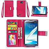 Galaxy Note 2 Case, IZENGATE [Classic Series] Wallet Case Premium PU Leather Flip Cover Folio with Stand for Samsung Galaxy Note 2 (Deep Rose Pink)