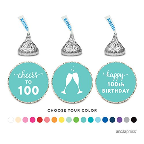 Andaz Press Chocolate Drop Labels Trio, Fits Hershey's Kisses Party Favors, 100th Birthday, 216-Pack, Choose Your Color - Party Decor and Decorations, Stickers for Stationary, Envelopes, Invitations, Thank You Notes ()