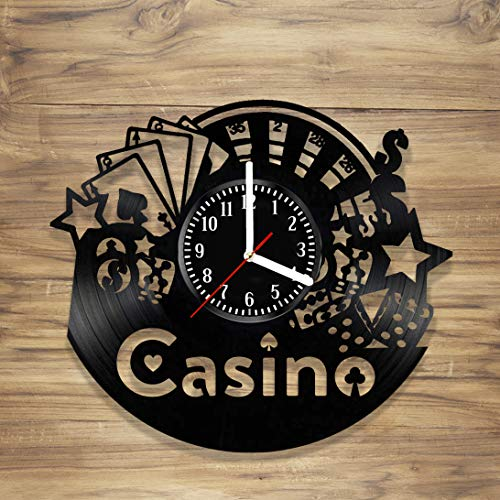 (Casino Vinyl Wall Clock Las Vegas 777 Poker Game Playing Card Decorate Home Style Unique Gift idea for Him Her (12 inches))