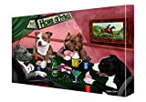 House of Pit Bull Dogs Playing Poker Canvas (20x24)