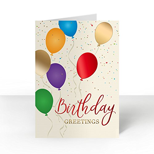 Pack of 25 Wall Street Greetings Premium Foil Birthday Balloons 5x7 fold over Greeting card with 25 Ivory Peel & Seal gold foil lined envelopes (Envelopes Ivory Foil Gold)