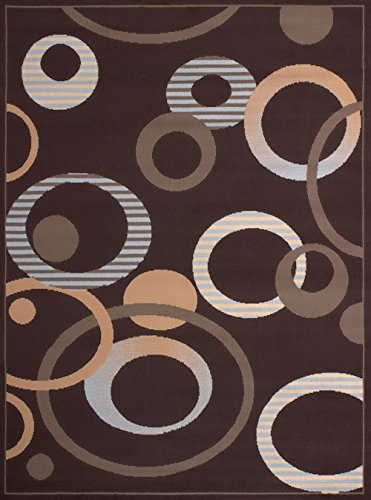 - United Weavers of America Dallas Hip Hop Rug - 5ft. 3in. x 7ft. 2in. Chocolate, Area Rug with Jute Backing, Circular Geometric Design
