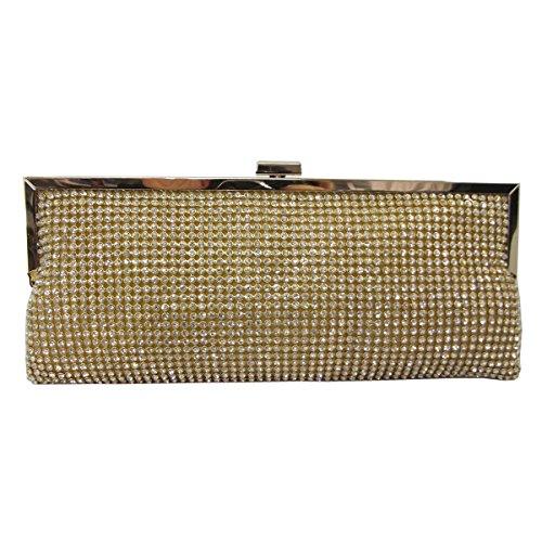 UKFS Reluciente Diamante Selah Bolso De Embrague / Damas Chicas Diseñador Boda Bolsa De Hombre / Bolso De Noche (Oro) Oro