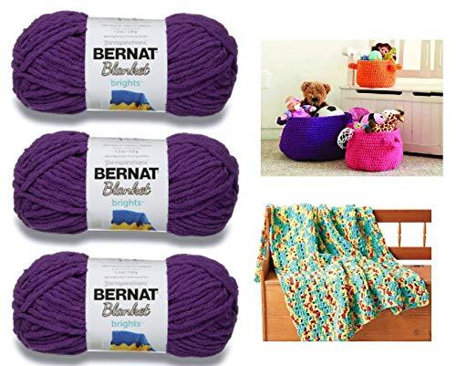 Bernat Blanket Brights Yarn - 3 Pack Bundle with 2 Patterns - Pow Purple ()