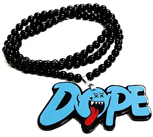 Font Charm (Cool & Custom {Bead Chain Hang} Single Unit of Rear View Mirror Hanging Ornament Decoration Made of Acrylic Plastic w/ Beads Boo Ghost Tagger DOPE Text Font Design [Jaguar Black, Blue & Red Colored])