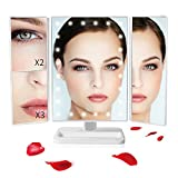 Sunba Youth Makeup Vanity Mirror with 24 LED Lights Touch Control Adjustable 180° Rotation Portable 3X/2X Magnification Mirrors for Girl Women