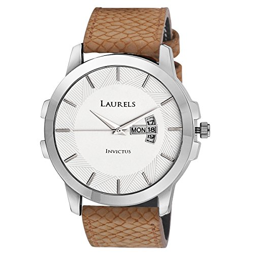 Laurels Invictus White Dial Day and Date Function Wrist Watc