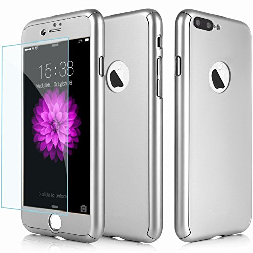 360 Degree Hard Plastic Case for iPhone 7 Plus (Silver) - 4