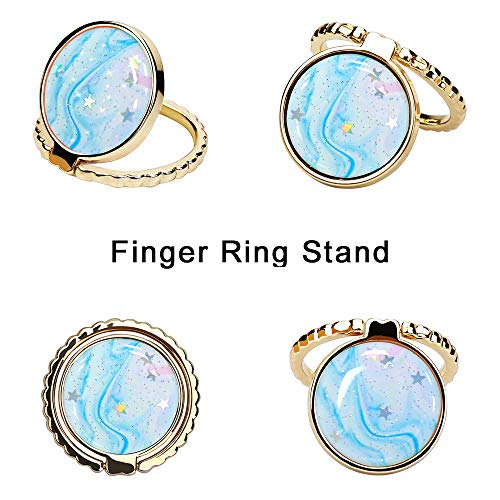 JIAXIUFEN Cell Phone Ring Stand Finger Holder Sparkle Glitter Grip Kickstand Compatible All Tablet iPad iPhone 11 Pro X XS Max XR 7 8 Plus Samsung Galaxy S10 Note 10 Smartphone Accessories – Blue