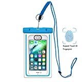 Waterproof Case, UPhitnis ID Fingerprint Supported Universal Waterproof Bag Pouch Dry Bag with Multifunction Lanyard for iPhone 7/7 plus/6s/6/6 plus/5/5s/5 and other up to 6